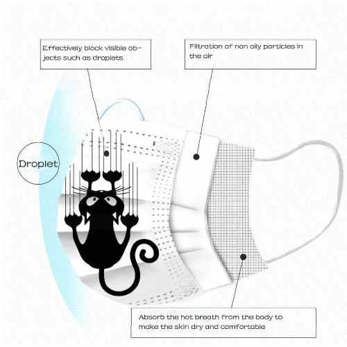 3-laags mondkapje katten