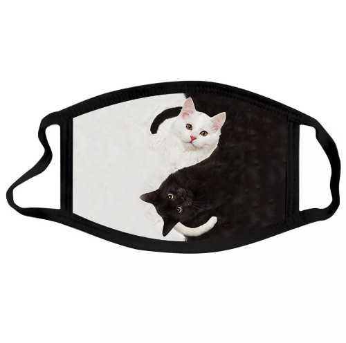 Mondkapje katjes zwart en wit