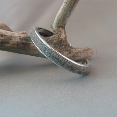 Zilvermetalen armband 5mm donker